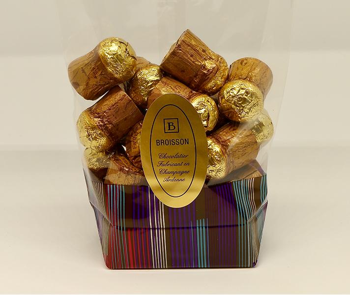 bouchons chocolat a la liqueur de marc de champagne sachet 250g