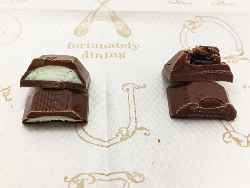 『不二家』の「ルック(LOOK)チョコミントダブル」ミントクリームとミントソース
