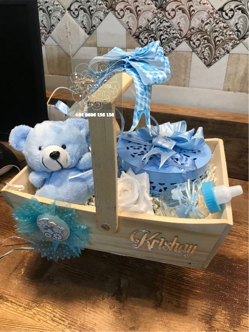 baby birth wooden gift announcement hampers under budget