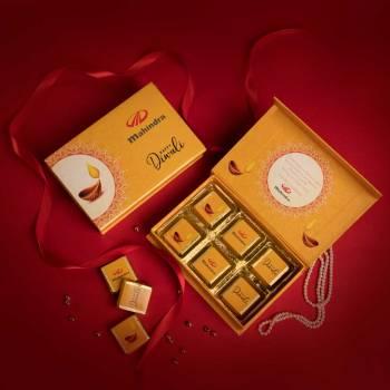 Brand logo printed on chocolate box for festive gifting