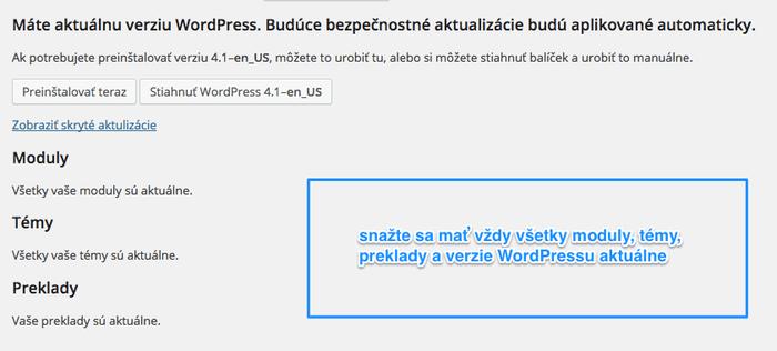 Aktualizujte pravidelne WordPress