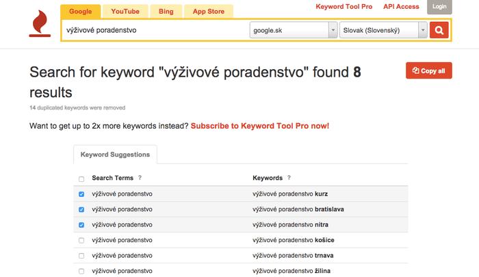 Keywordtool.io pre analýzu kľúčových slov