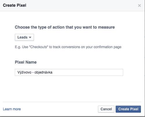 Facebook vytvorenie pixelu