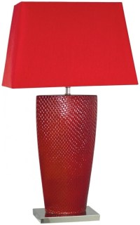 Barsaw White Table Lamp with Champagne Shade (Pair)