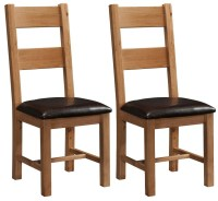 Buy Devonshire Rustic Oak Dining Chair - Ladder Back (Pair ...