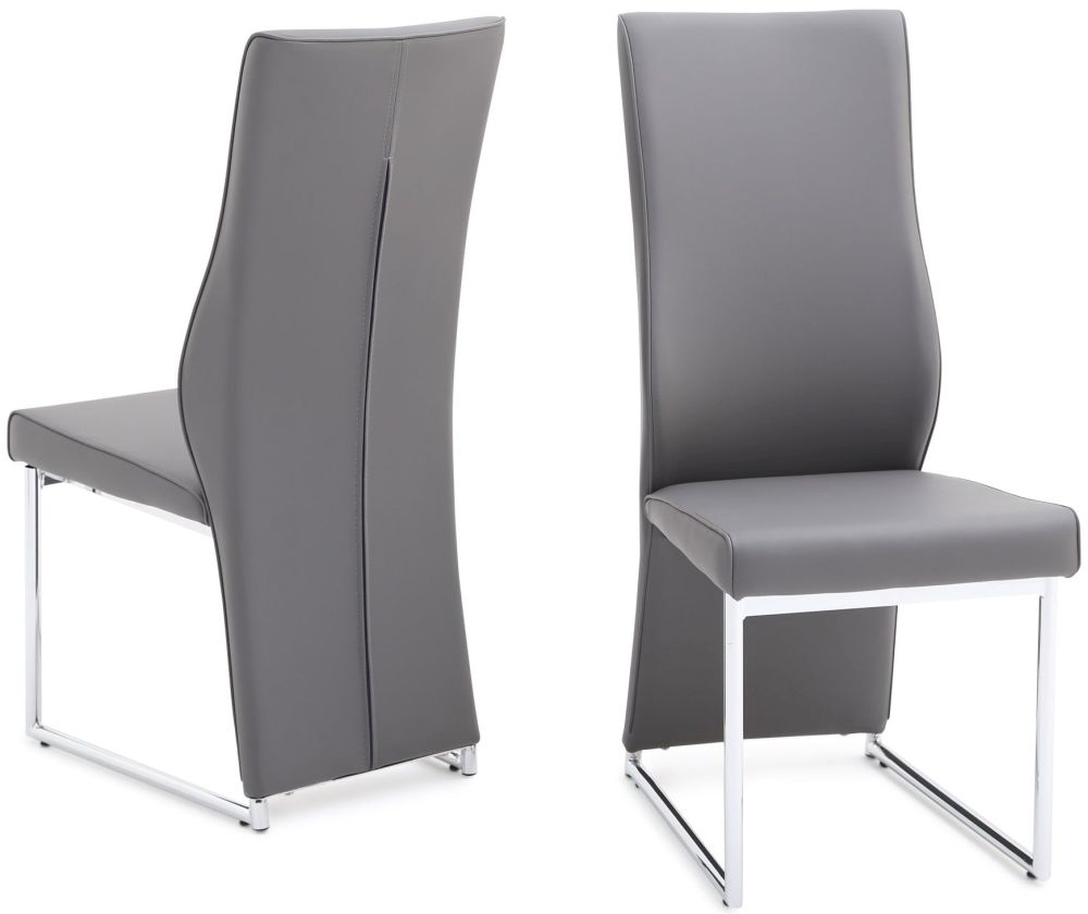 chrome dining chairs uk acapulco chair buy remo grey faux leather with legs pair
