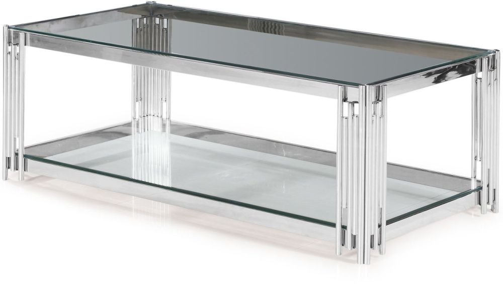 vasari coffee table glass and chrome cfs furniture uk
