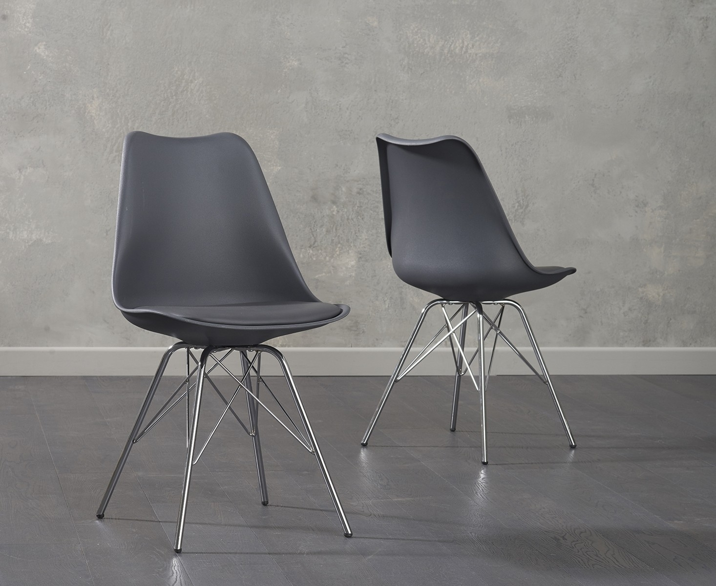chrome dining chairs uk blue velvet tufted chair buy mark harris calabasus dark grey faux leather