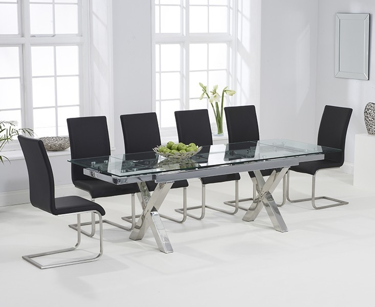 Mark Harris Cilento Glass Extending Dining Table And 6 Malibu Chairs Chrome And Black Cfs Furniture Uk
