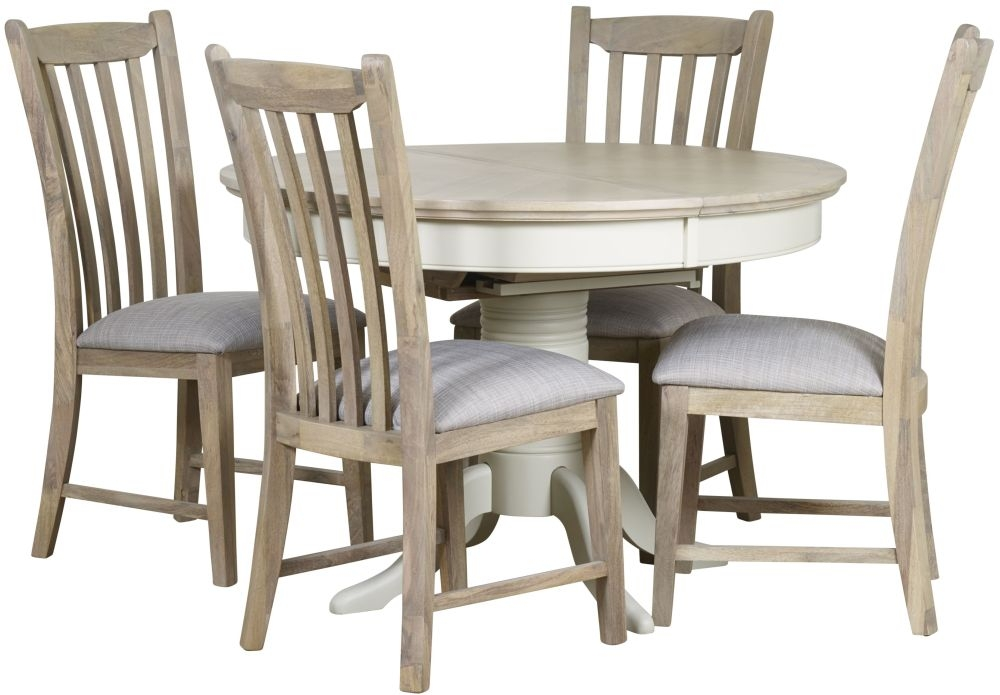 Mark Webster Lily Round Extending Dining Table And 4 Slatted Dining Chairs Grey Cashew Cfs Furniture Uk
