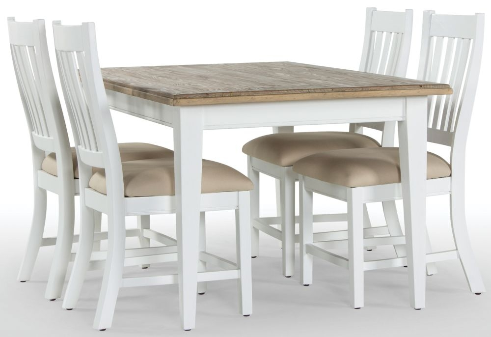 Rowico Lulworth White Extending Dining Table And 4 Slatted Chairs Cfs Furniture Uk