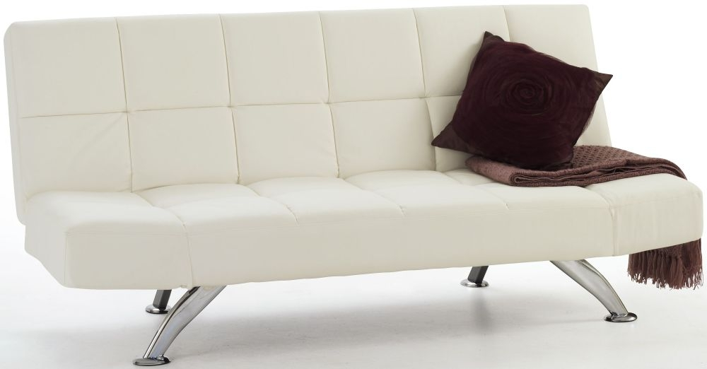 faux leather sofa bed uk white modern table brokeasshomecom