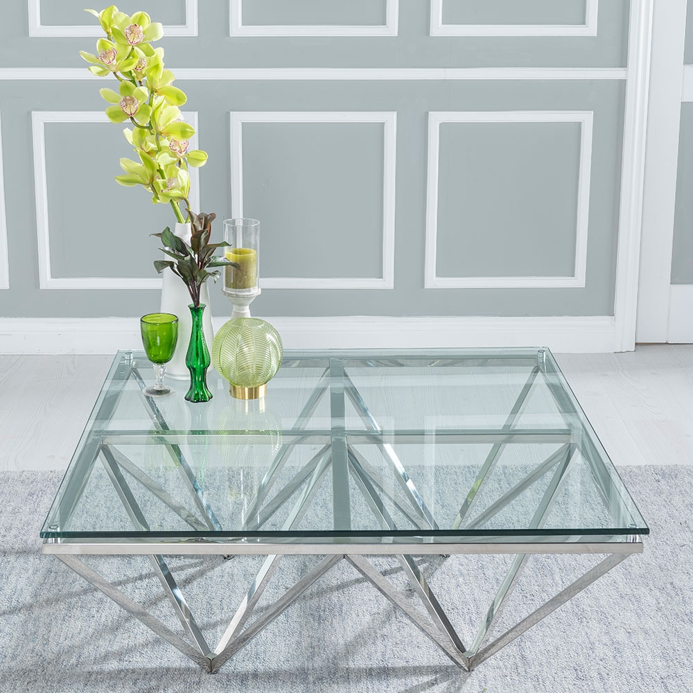 urban deco prism glass and chrome coffee table cfs furniture uk