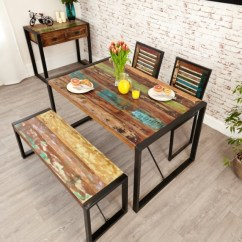 2 Chair Kitchen Table Set Restoration Hardware Buy Baumhaus Urban Chic Reclaimed Wood Rectangular Small Dining With Chairs And Bench 140cm