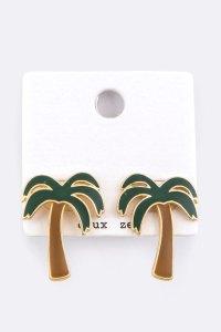 AEE0672 MULTI Palm Tree Enamel Stud Earrings