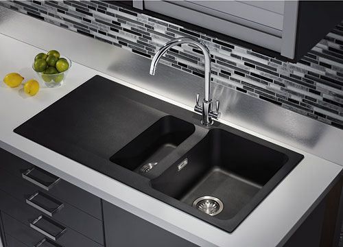 kitchen sink waste disposal peerless faucets franke orion oid 651 tectonite carbon black ...