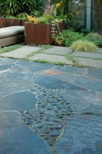 Many beautiful hardscape materials add interest to the design