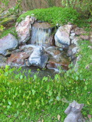 A small mound allows to create a waterfall that feeds the creek to the pond.