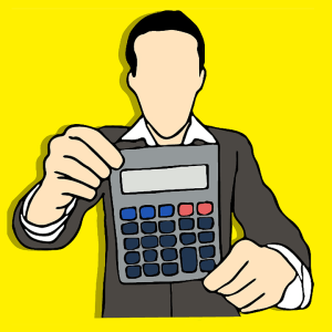 Drawing of a man holding a calculator.