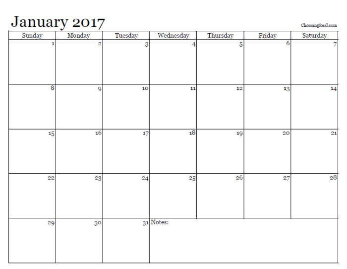 2017 month by month calendar