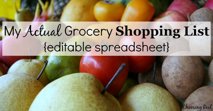 grocery spreadsheet with prices