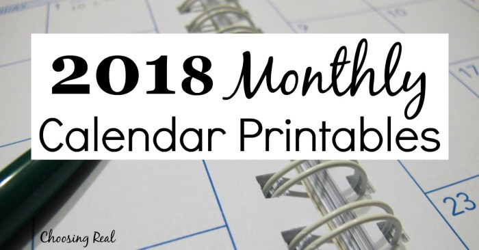 Use these 2018 monthly calendar pages to quickly see each month at a glance.