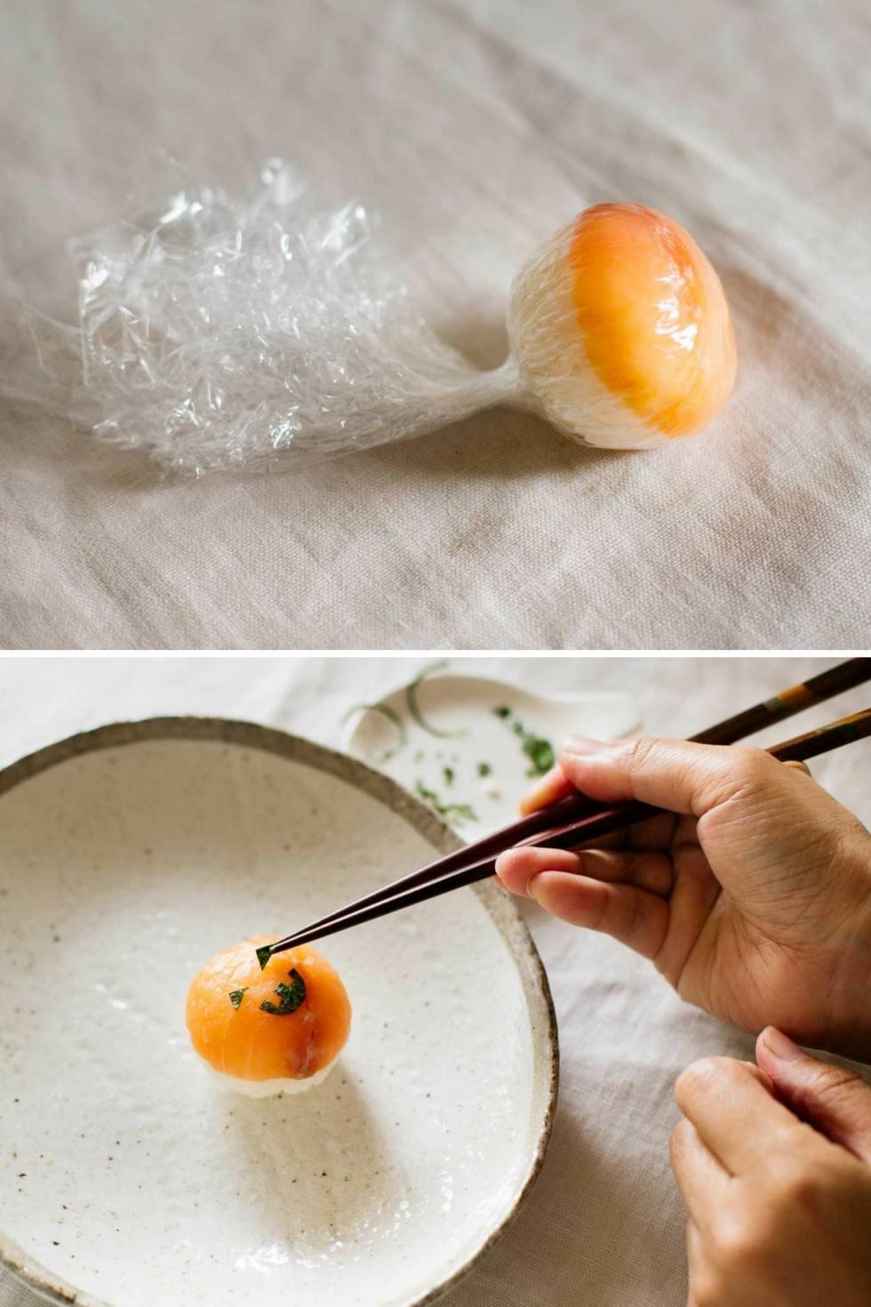 decorating Jack o'lantern sushi ball with chopsticks