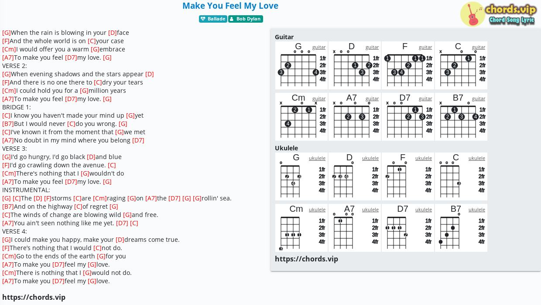 Chord: Make You Feel My Love - Bob Dylan - tab. song lyric. sheet. guitar. ukulele | chords.vip