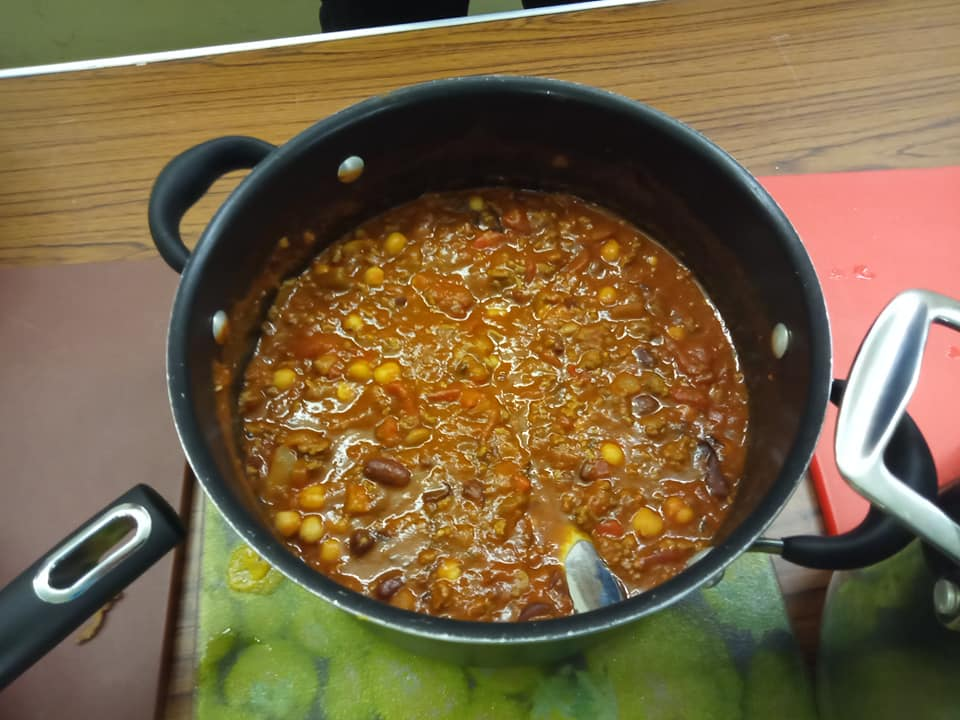 A saucepan full of chilli