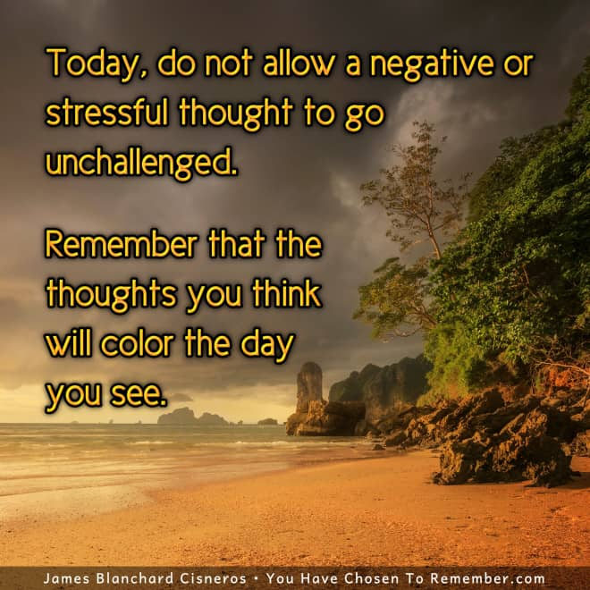 Negative, Stressful Thinking - Inspirational Quote