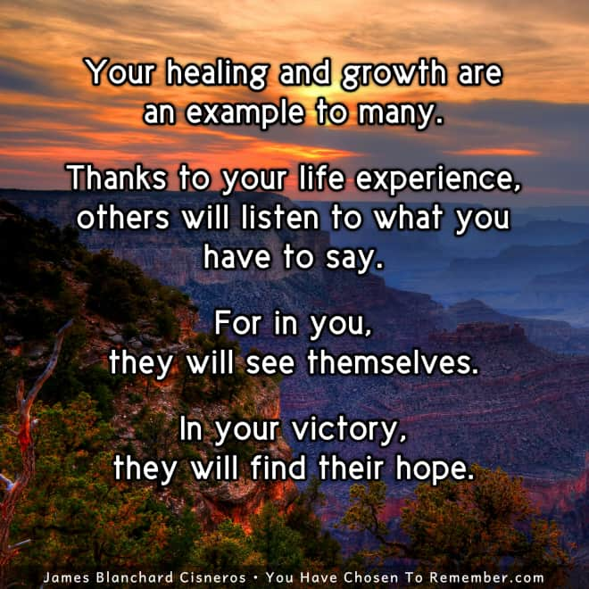 Inspirational Quote about how your personal healing and growth inspires others.