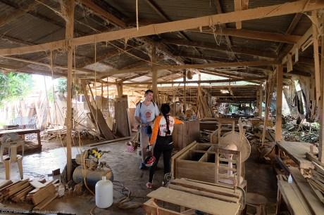 A teak wood furniture factory.