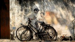 Little Children on the Bicycle Street Art Penang