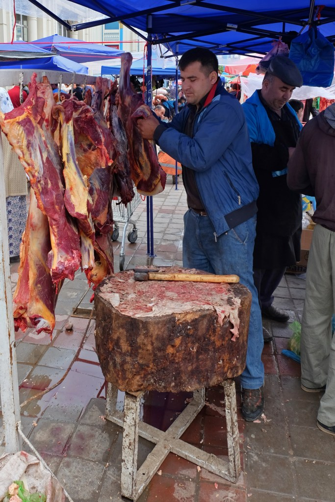 The local butcher at the Dushanbe Green Market