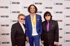 """BEVERLY HILLS, CA - JUNE 22: (L-R) ASCAP President Paul Williams, Steven """"Lenky"""" Marsden and EVP/ Membership ASCAP John Titta at the ASCAP 2017 Rhythm & Soul Music Awards at the Beverly Wilshire Four Seasons Hotel on June 22, 2017 in Beverly Hills, California. (Photo by Lester Cohen/Getty Images for ASCAP)"""