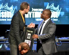 BEVERLY HILLS, CA - JUNE 22: Luke Hellebronth accepts award from ASCAP Associate Director Jason Reddick onstage at the ASCAP 2017 Rhythm & Soul Music Awards at the Beverly Wilshire Four Seasons Hotel on June 22, 2017 in Beverly Hills, California. (Photo by Earl Gibson III/Getty Images for ASCAP)