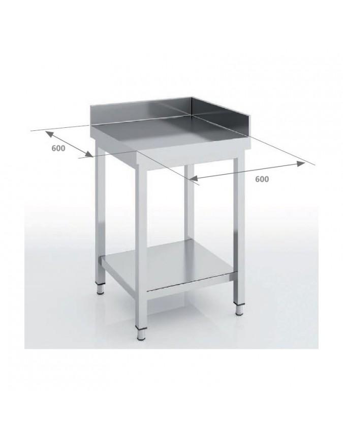 table d angle inox avec dosseret 600 x 600 x 850 mm