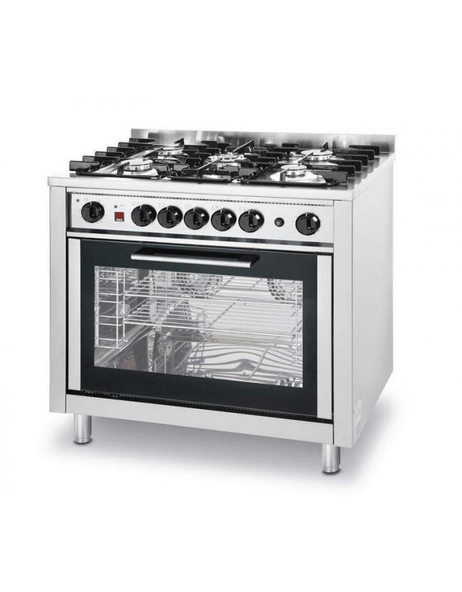 cuisiniere a gaz 5 feux vifs sur four electrique a chaleur pulsee