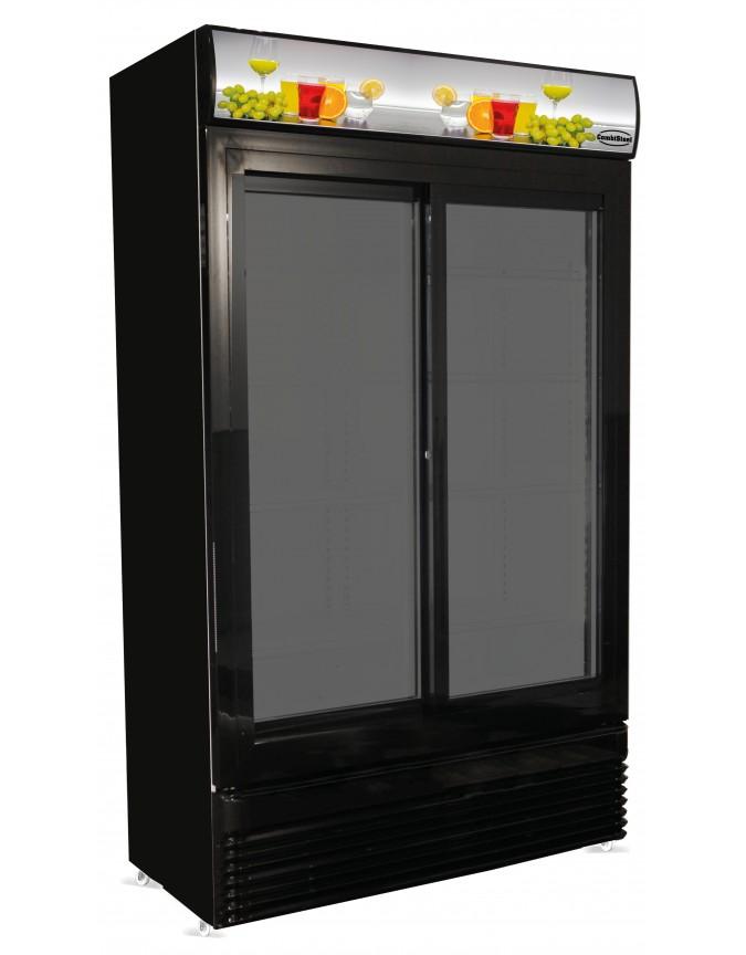 armoire a boissons totalement noire avec 2 portes coulissantes et bandeau lumineux 780 litres