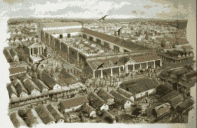 Painting of the Roman Forum of London from the air