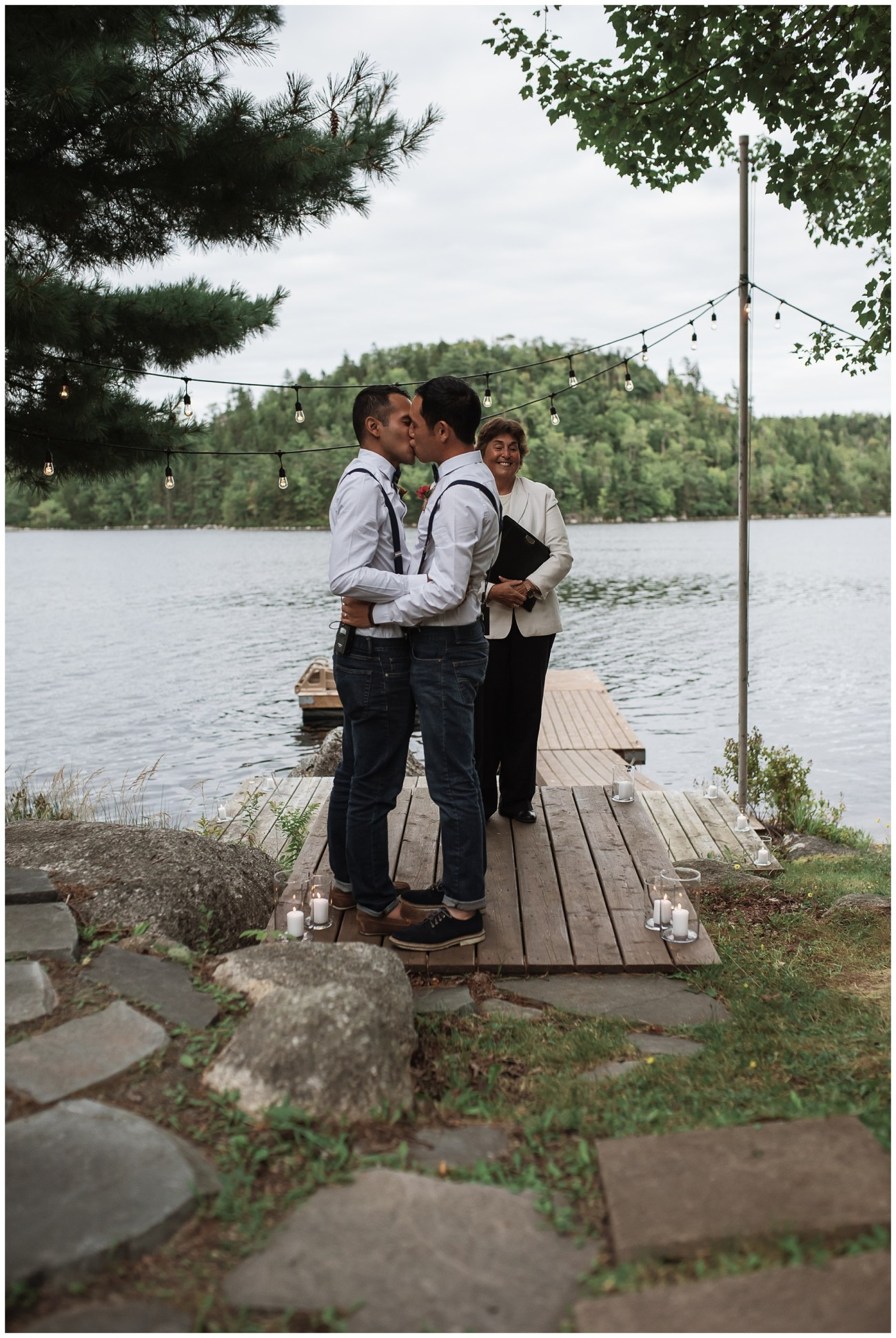 first kiss at a backyard wedding in Porters Lake, Nova Scotia