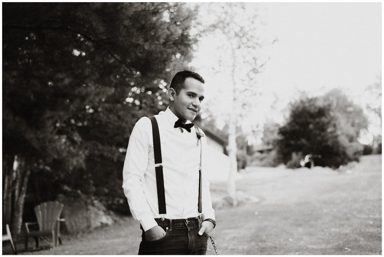 groom at a backyard wedding in Porters Lake, Nova Scotia