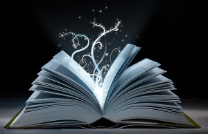 An open book with 'magic' escaping the pages.