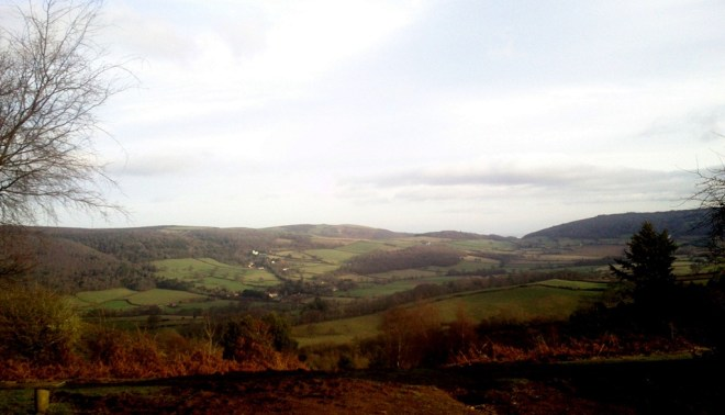 Porlock and bristol channel from top of Mill Lane, Dunery Beacon, Exmoor National Park