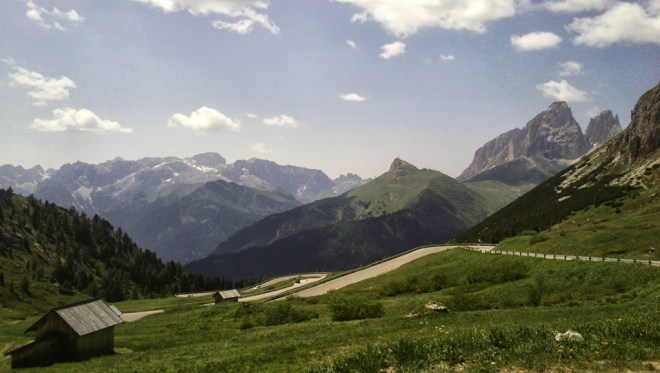 Looking west from the top of Passo Pordoi, with the Langkofel on the right
