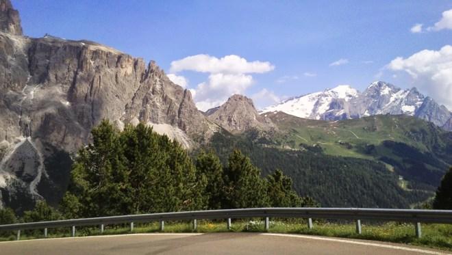On the slopes of Passo Sella, looking south towards Passo Pordoi