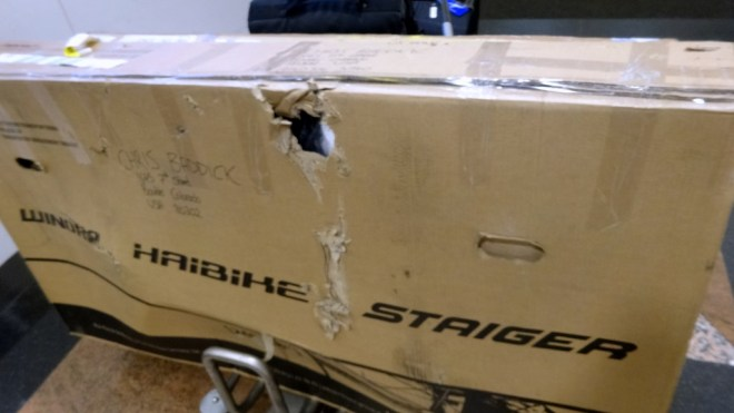 This is not the sight you want to see when your bikes arrive after a transatlantic journey