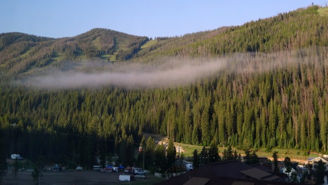 Early Morning clouds hanging over Winter Park ski area
