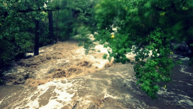 Boulder creek was flowing 100 times faster than normal