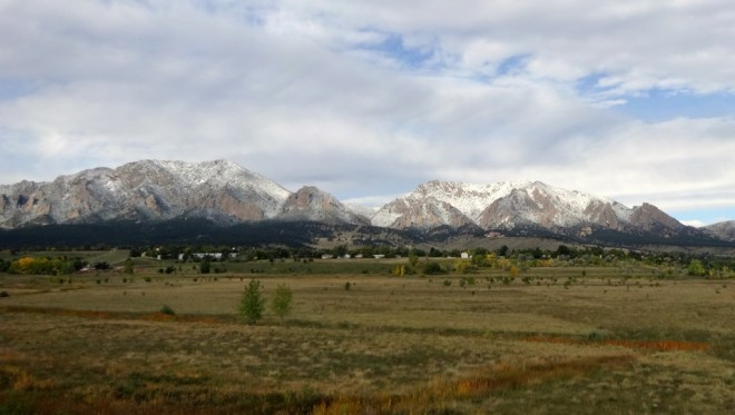 The first coating of snow on the Flatirons